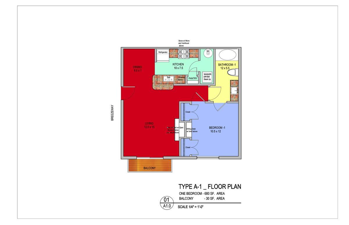 710 sq. ft. Willow floor plan