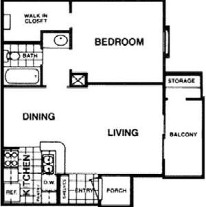 573 sq. ft. A floor plan