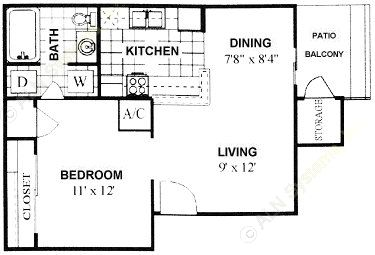 513 sq. ft. floor plan