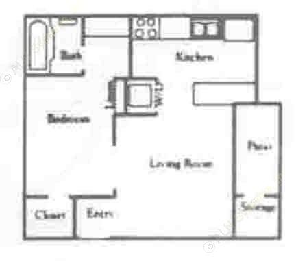 450 sq. ft. EFF/60% floor plan