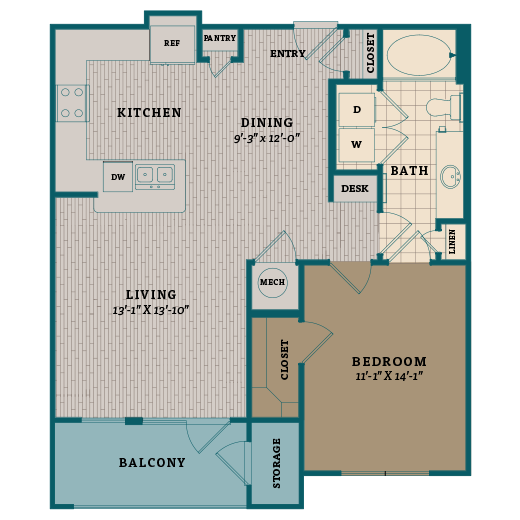 815 sq. ft. A5 floor plan