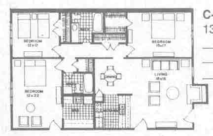 1,305 sq. ft. C3 floor plan