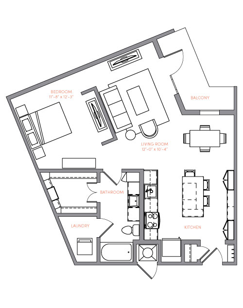 833 sq. ft. A3 floor plan
