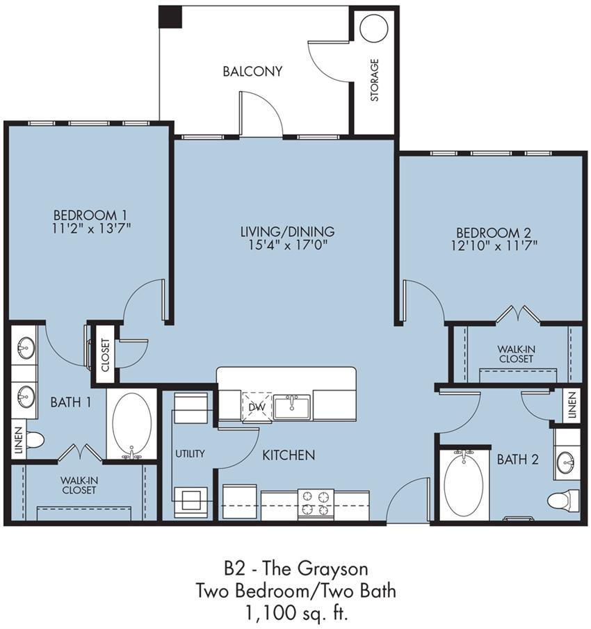 1,100 sq. ft. Grayson floor plan