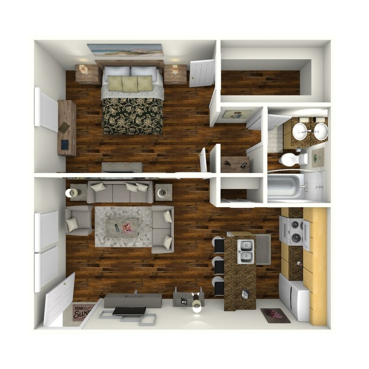 576 sq. ft. A4 floor plan