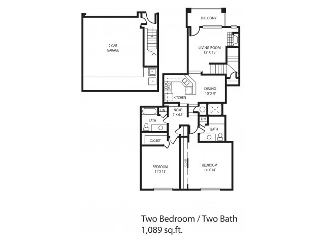 1,089 sq. ft. Windwood floor plan
