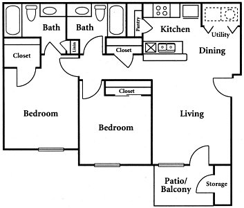 871 sq. ft. B3 floor plan