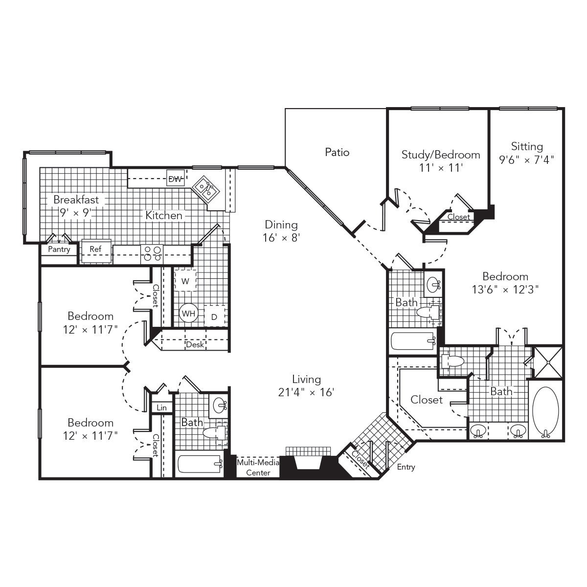 1,868 sq. ft. Wave 2 floor plan