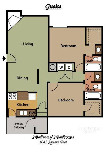 1,042 sq. ft. E floor plan