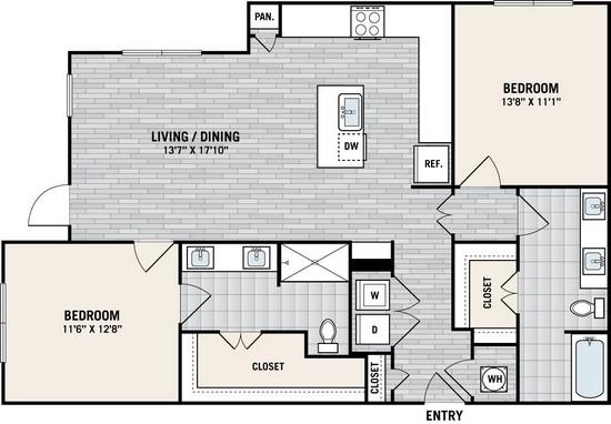 1,217 sq. ft. B6A floor plan