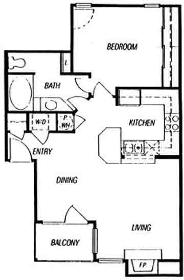 750 sq. ft. Frontenae floor plan