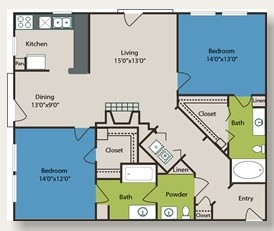 1,188 sq. ft. B4 floor plan