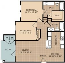 960 sq. ft. B2 floor plan