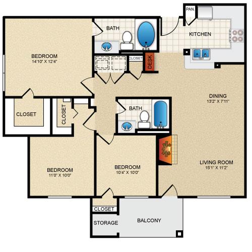 1,215 sq. ft. Evergreen floor plan