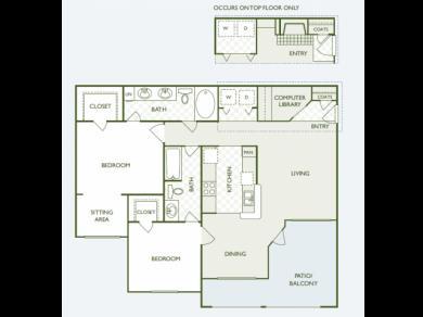 1,099 sq. ft. B4 floor plan