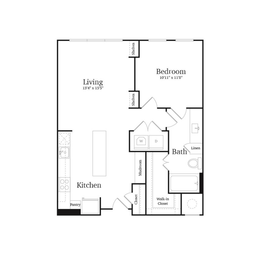 752 sq. ft. A8 floor plan