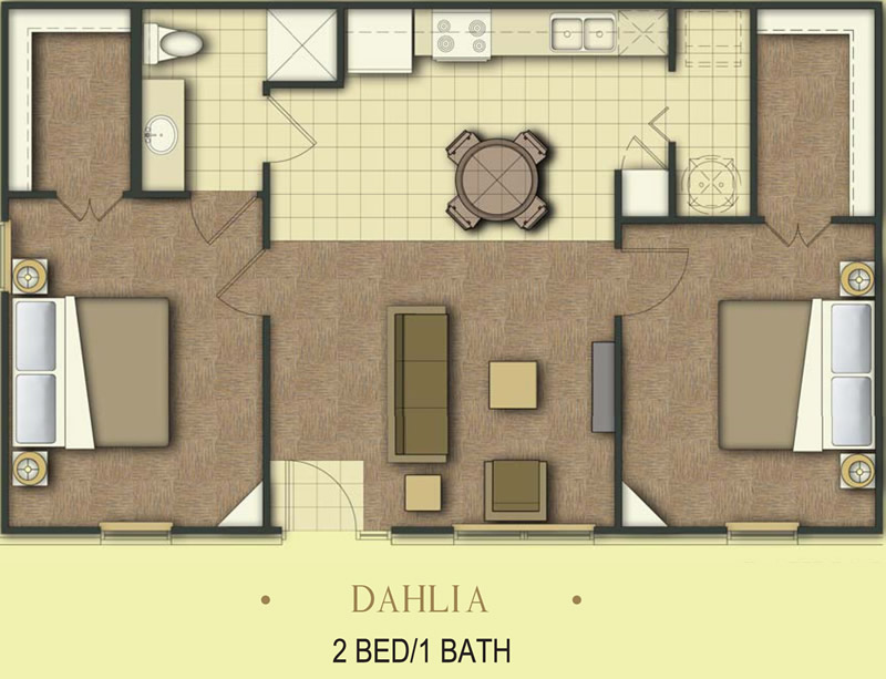 850 sq. ft. Dahlia/50% floor plan