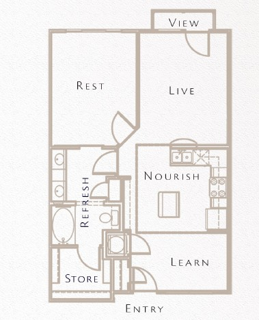 760 sq. ft. to 846 sq. ft. A7 floor plan