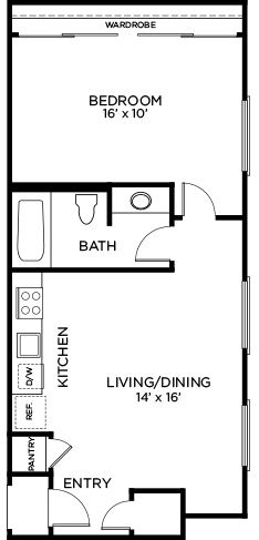 578 sq. ft. to 592 sq. ft. A5 floor plan
