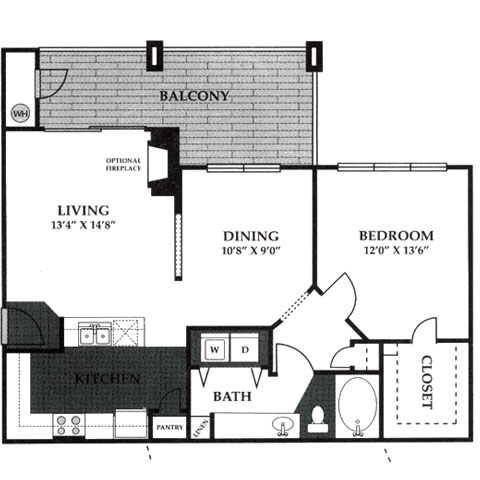 863 sq. ft. A2 floor plan