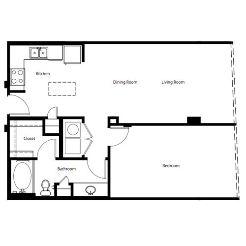 831 sq. ft. A1C floor plan