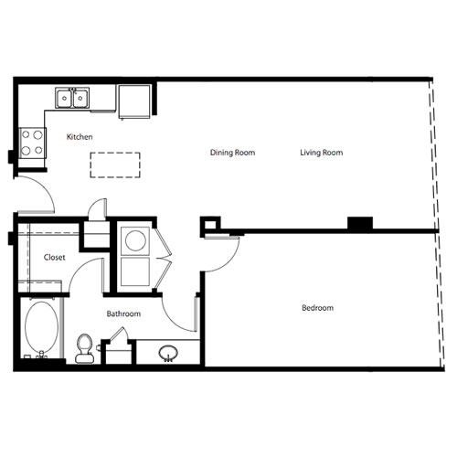 831 sq. ft. A1C floor plan