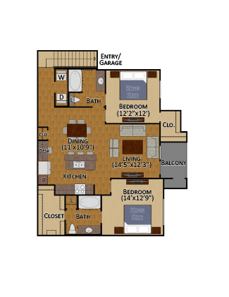 1,253 sq. ft. B2 floor plan