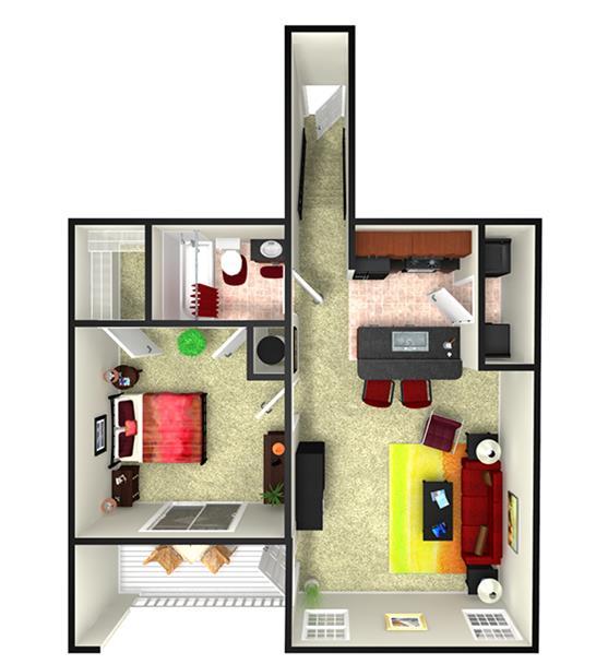 814 sq. ft. A1UG floor plan