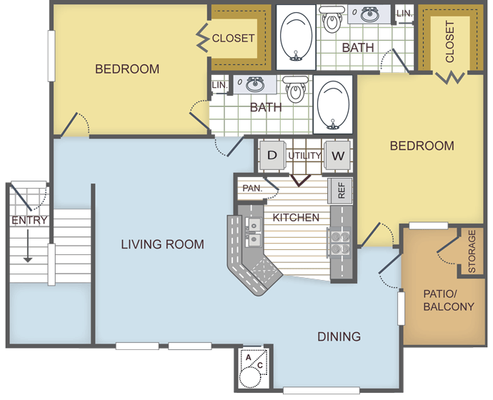 1,176 sq. ft. REDWOOD floor plan