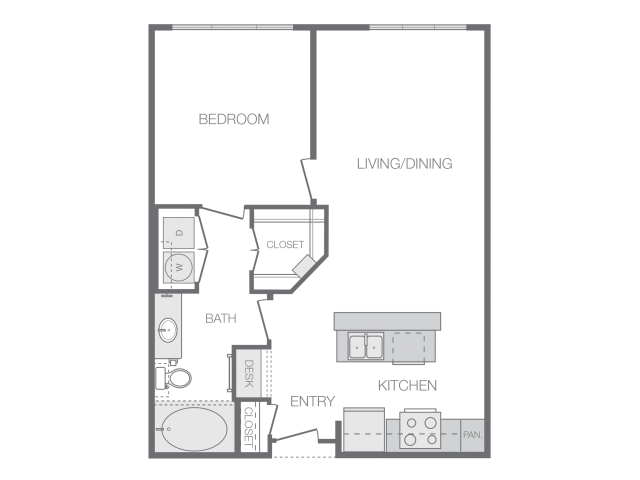 766 sq. ft. E floor plan