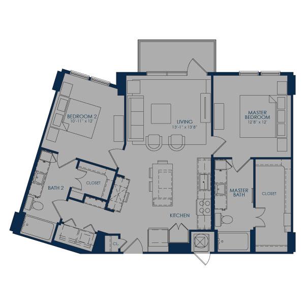 1,096 sq. ft. B43 floor plan