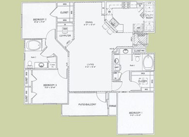 1,336 sq. ft. Capri floor plan