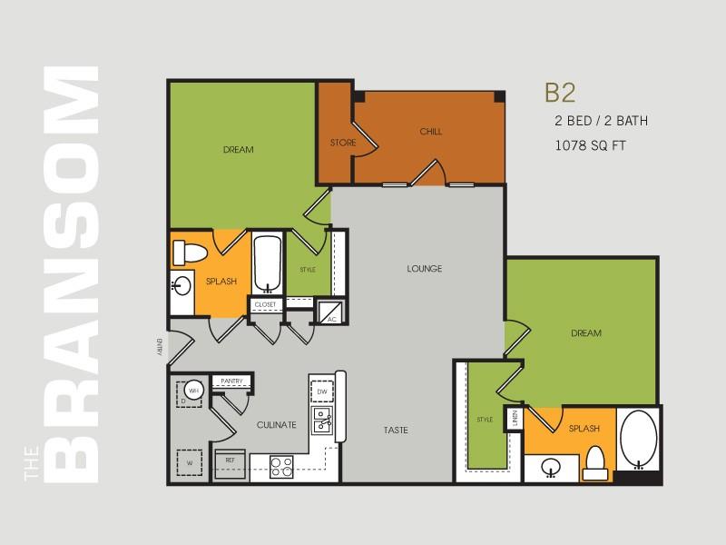 1,078 sq. ft. B2 floor plan