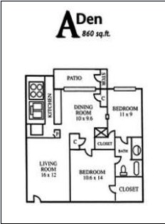860 sq. ft. ADEN floor plan