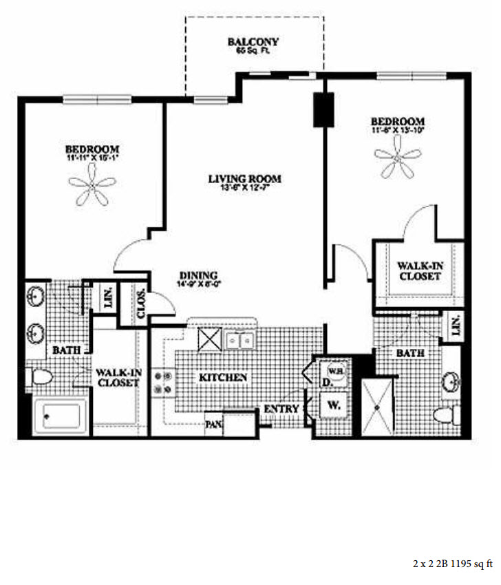 1,195 sq. ft. 2B floor plan