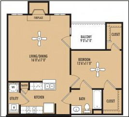 881 sq. ft. Rhythm floor plan