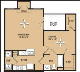 881 sq. ft. floor plan