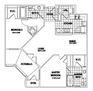 1,303 sq. ft. Rochester floor plan