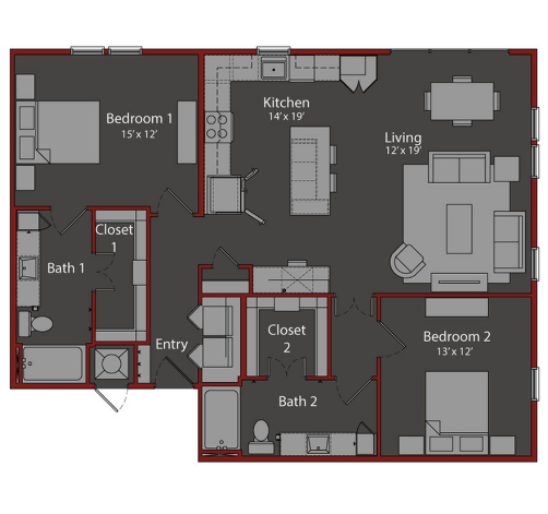 1,299 sq. ft. B3 floor plan