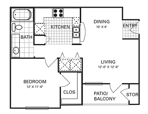 659 sq. ft. A1 PHI floor plan
