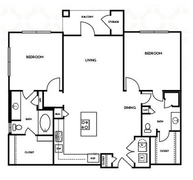 1,064 sq. ft. B1.6 floor plan