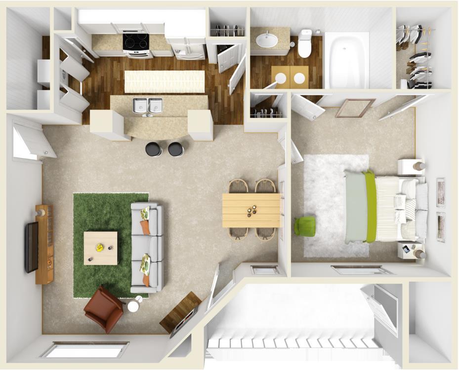 731 sq. ft. B floor plan