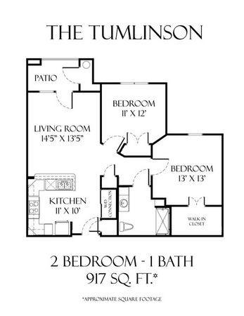 917 sq. ft. Tumlinson 50% floor plan