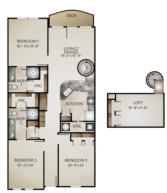 1,367 sq. ft. to 1,399 sq. ft. R GRANDE(3/2 Loft) floor plan