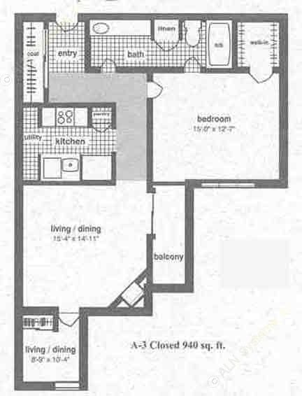 940 sq. ft. A-3 floor plan
