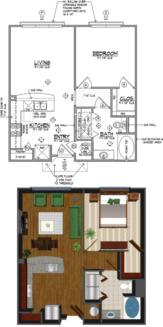 686 sq. ft. Ca floor plan
