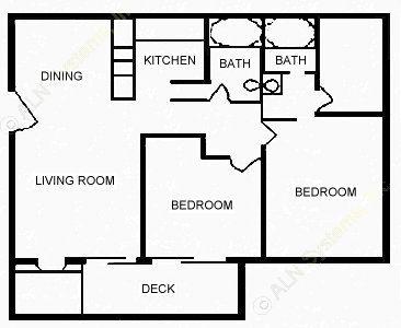 901 sq. ft. C floor plan