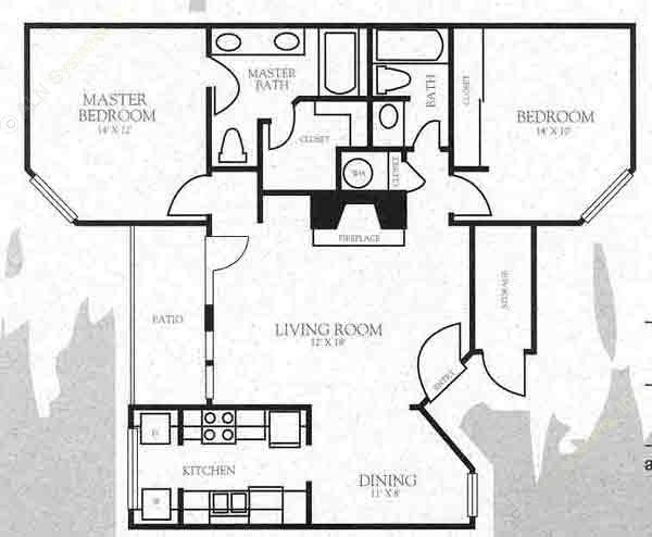 968 sq. ft. B4 floor plan