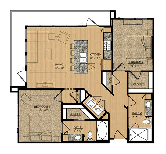 1,105 sq. ft. Primrose floor plan