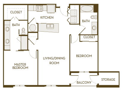 1,037 sq. ft. B2B floor plan